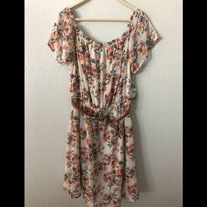 NWT Bebop off the shoulder floral dress with belt
